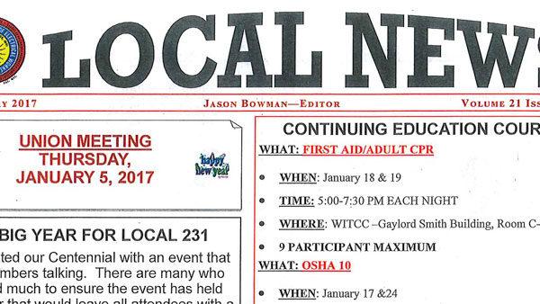 IBEW 231 - January 2017 Newsletter
