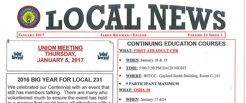 IBEW 231 - January 2017 Newsletter